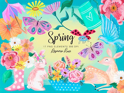 Spring Clipart, Spring Pastel clip art, spring flowers, deer, bird, ladybug