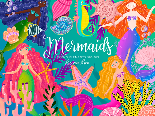 Mermaids Clipart princess , cute mermaid - printable clip art