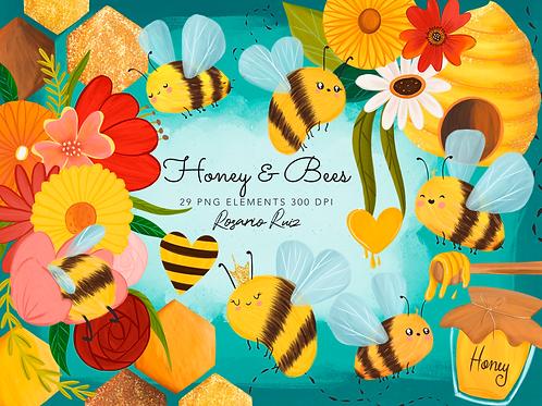 Bees Clipart - Honey clip art, honey graphics, spring bees clipart