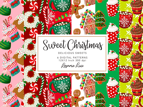 Christmas Sweets Digital Papers, Fabric Seamless Pattern, Scrapbook Papers