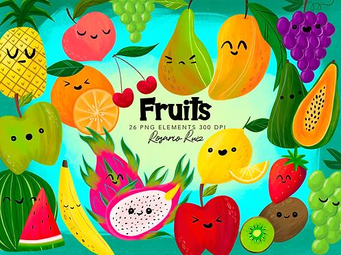 Fruits Clipart - Cute fruits Kawaii, Food Clipart, strawberry, apple