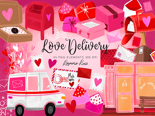 Delivery Love Clipart, Love Mail Clipart, Love Package Clipart, Love letter