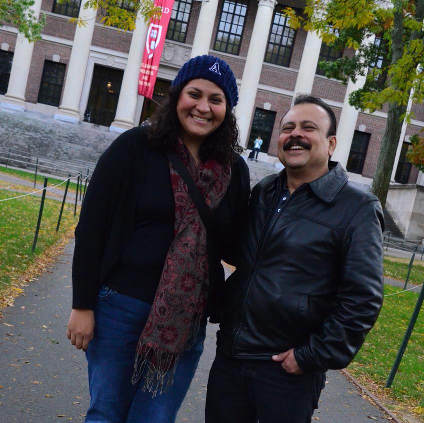 With dad at Harvard