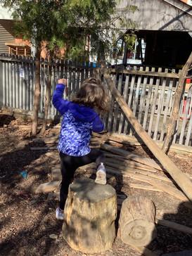 A big jump down the tree stump!