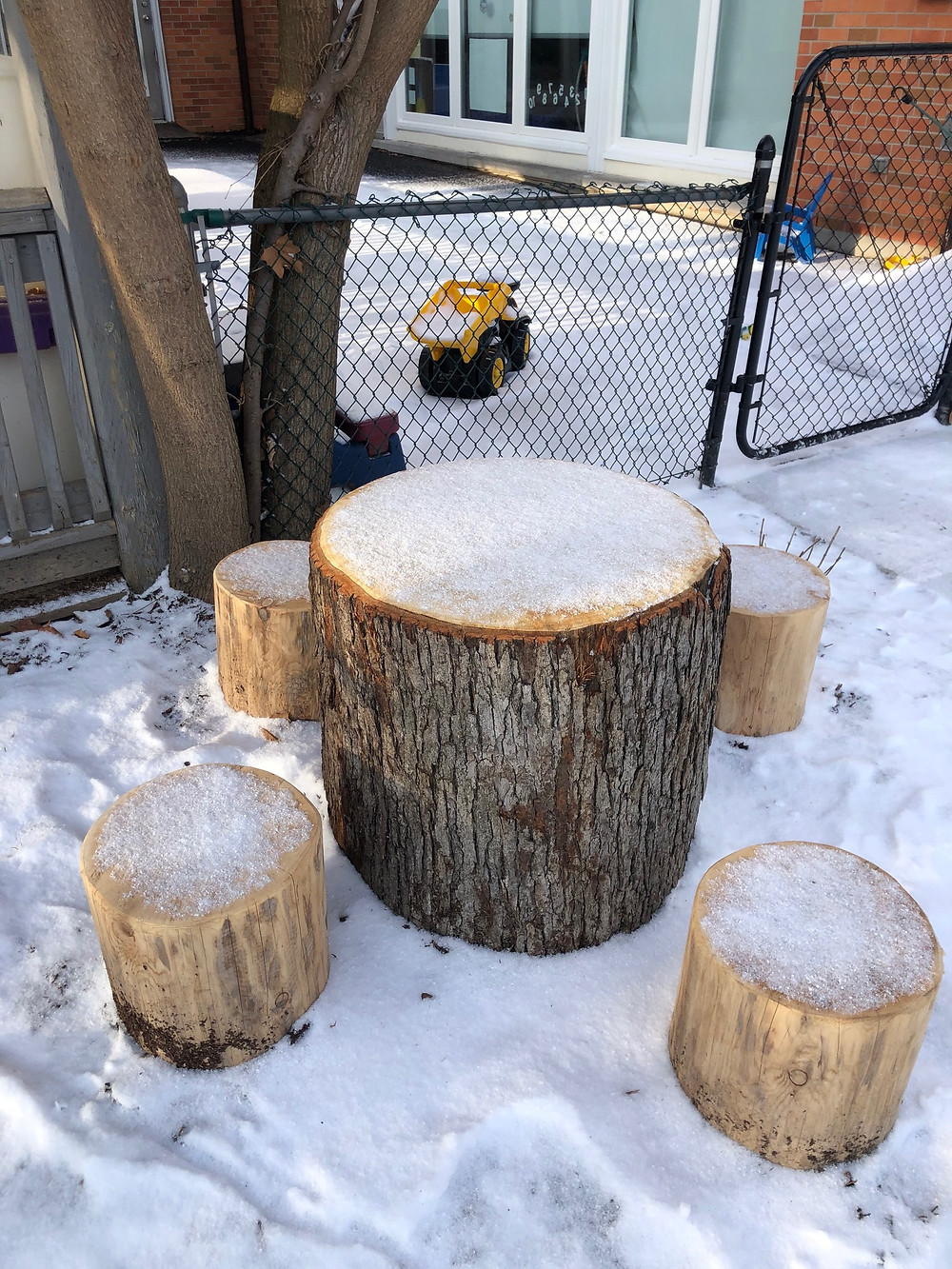 Stump table and chairs