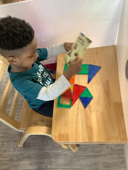 Creating pictures out of shapes requires tons of concentration!