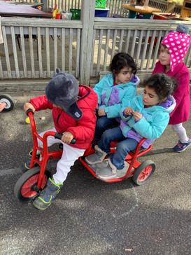 Impressively biking with passengers!
