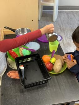 Preparing some meals together!