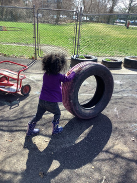 Rolling around some tires... look at that strength!