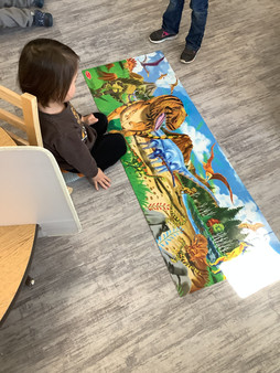 With lots of hard work, the dinosaur puzzle was completed!