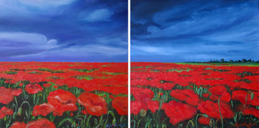 THE PEACEFUL NARRATION OF A POPPY III,  diptych