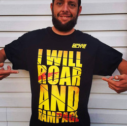Dustin Hill with our Roar and Rampage Shirt