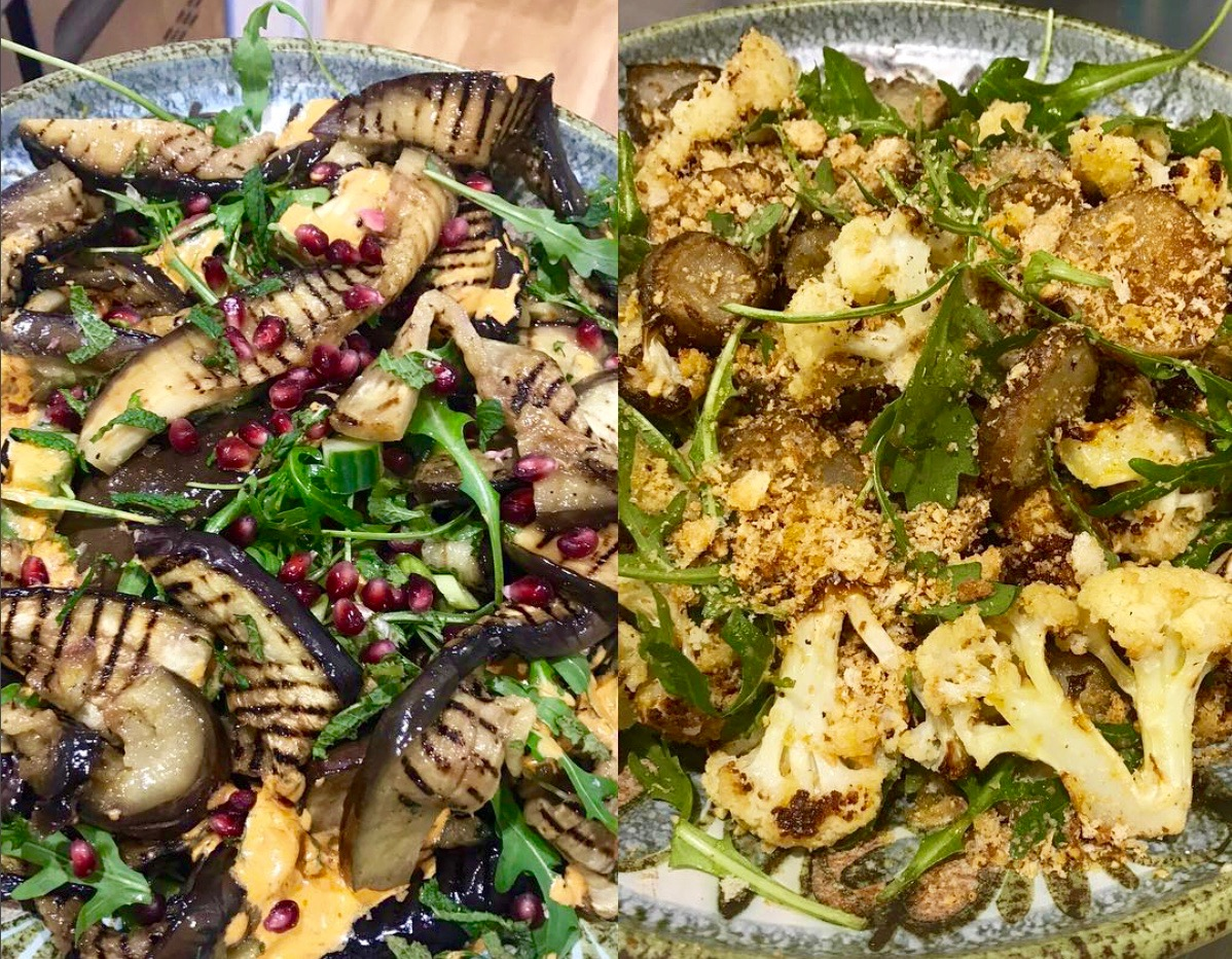 Aubergine and cauliflower salads