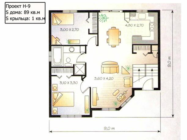 Проект дома с двумя изолированными комна