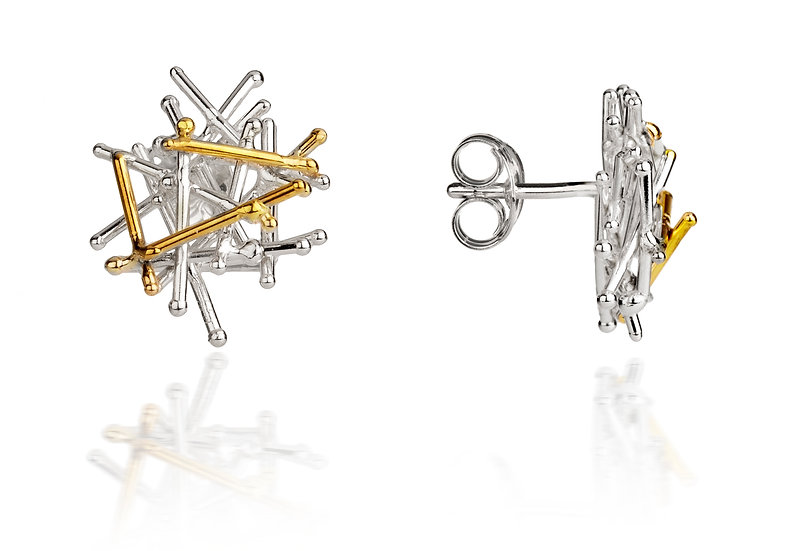 Magnetic Silver and Gold Stud Earrings