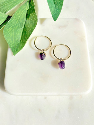 Stone Gold Amethyst Earrings