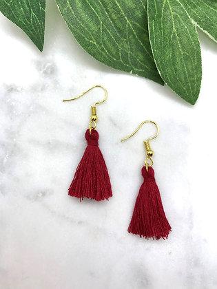 Tassel Earrings   Wine Red