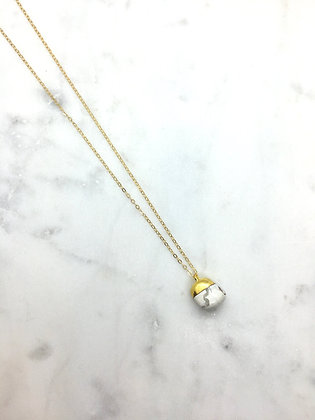 Gold Stone Necklace | Marble