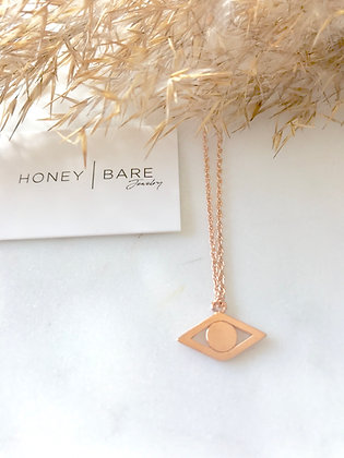 Evil Eye Rose Gold Necklace