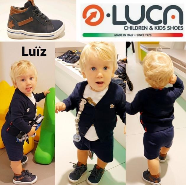 Luïz  supertrots met zijn nieuwe Luca stappers
