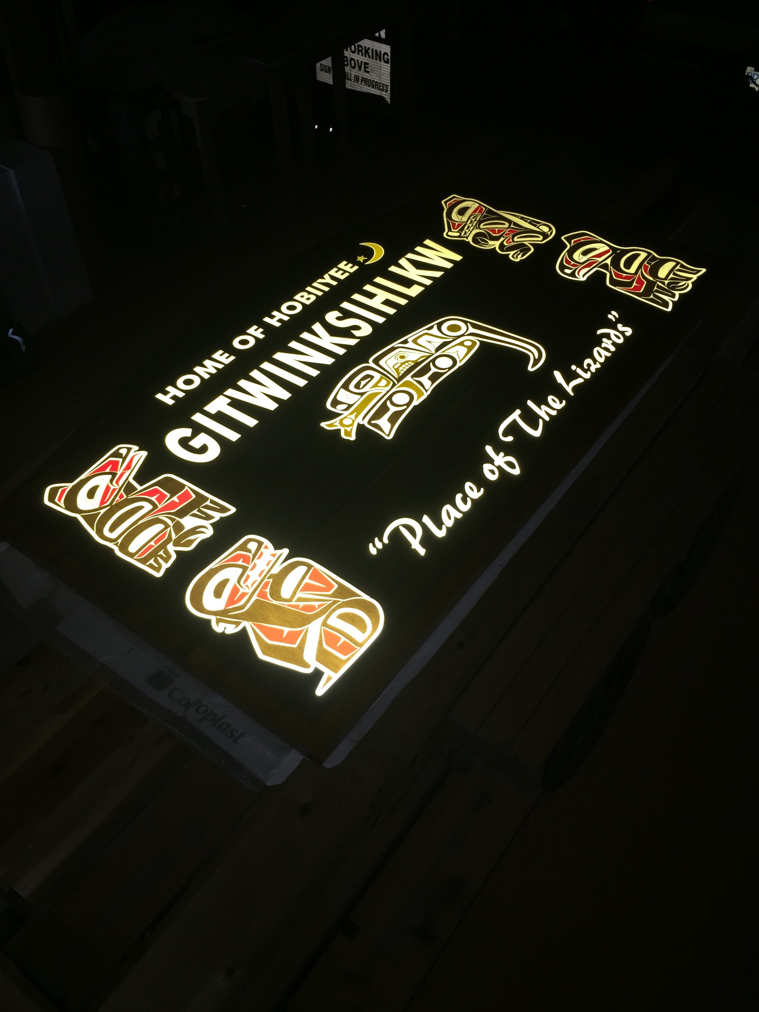 Wood Sandblasted Illuminated Sign