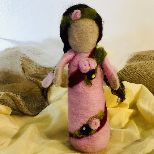 Braided Pink Needlefelted Doll