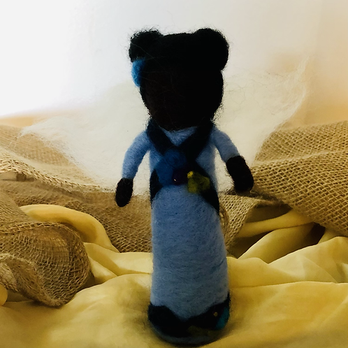 Small Black Angel Needlefelted Doll