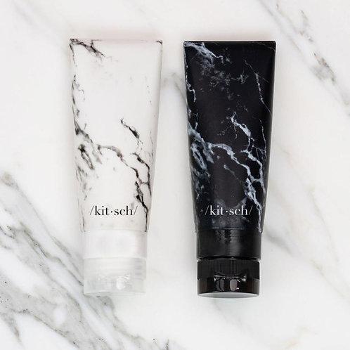 Refillable Silicone Bottle 2pc Set - Black & White Marble