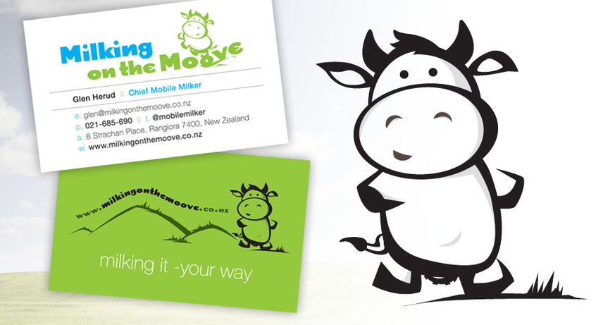 Cow Illustration and Branding for Milking on the Moove
