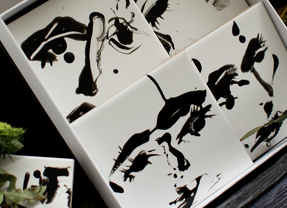 HAND PAINTED SET OF 4 COASTERS GIFT BOX