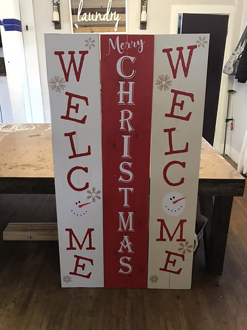 2 sides welcome/merry christmas signs