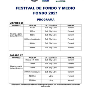 No te pierdas la transmisión en vivo del Festival de Medio Fondo y Fondo 2021