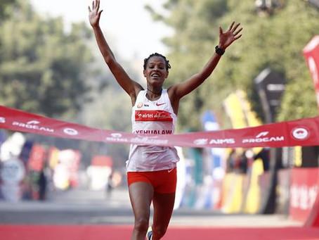 Yehualaw, con 1:04:46, registra la segunda carrera más rápida de todos los tiempos en Delhi