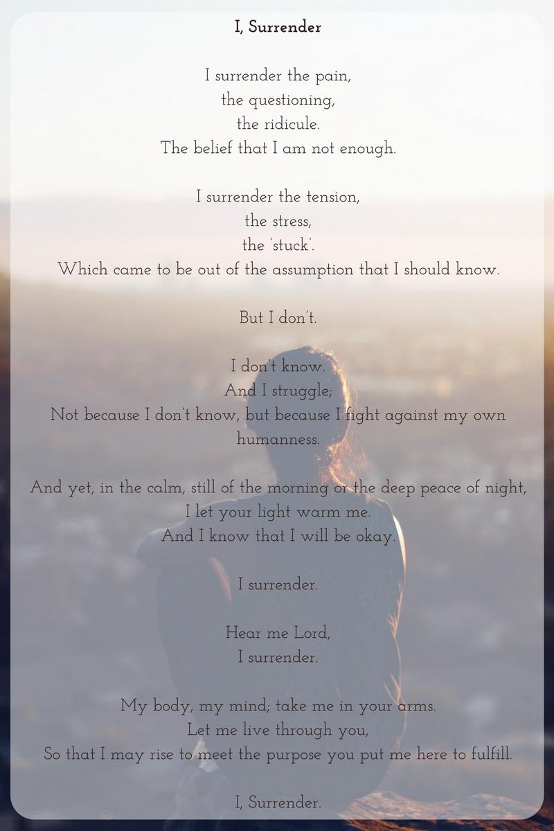 a poem called 'I, Surrender'