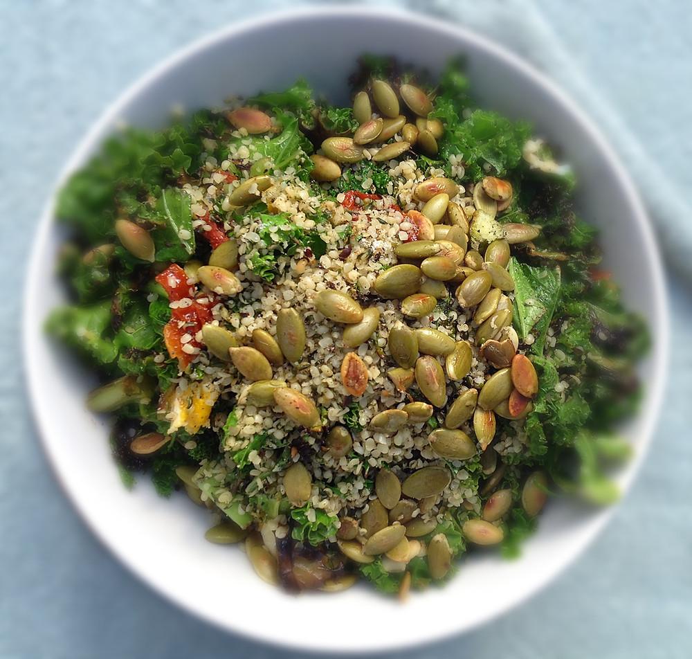 kale, pumpkin seeds and hemp seeds