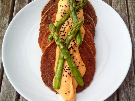 Sesame Artichoke Pancakes with Smoked Cauliflower 'Cheese' Sauce