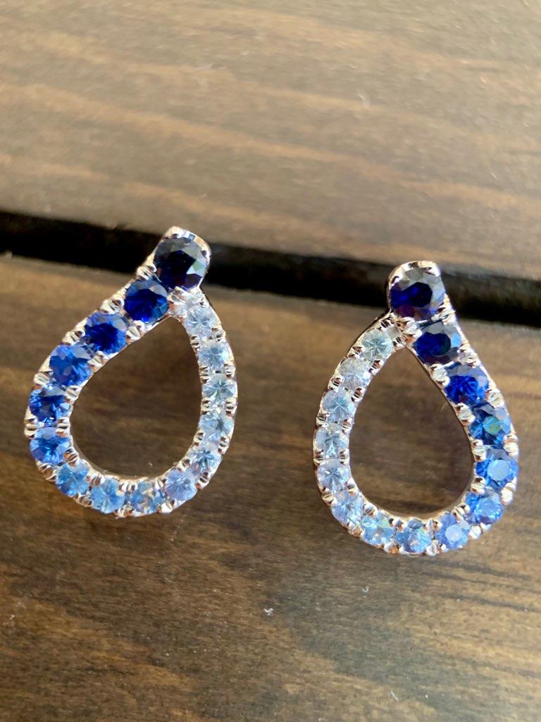 Pear Shaped Sapphire Earrings