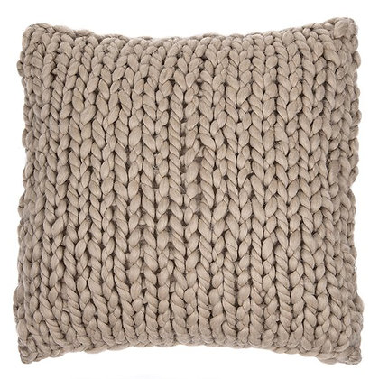 Cocooning chunky knitted almond cushion