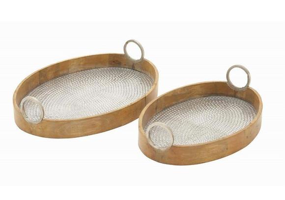 Tray set of 2 aluminium & wood