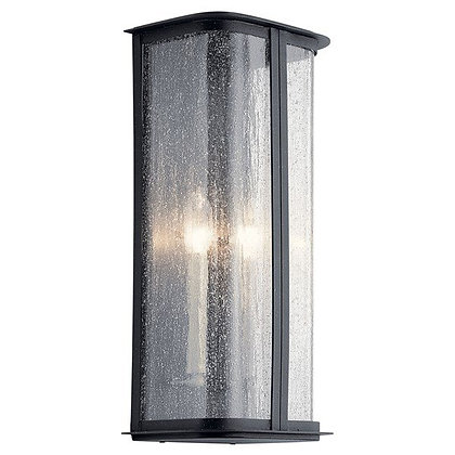 """Timmin™ 18"""" 1 Light Wall Light with Clear Seeded Glass and Distressed Black"""