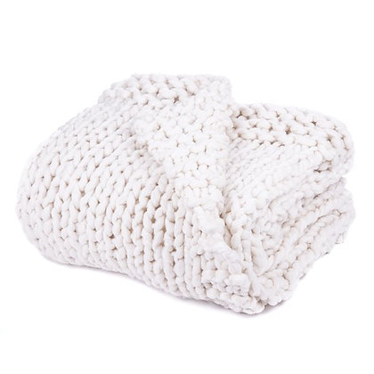 Cocooning chunky knitted ivory throw