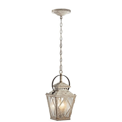 """Hayman Bay™ 18"""" 2 Light Pendant Clear Seeded Glass Distressed Antique White"""