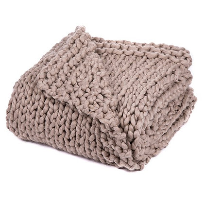 Cocooning chunky knitted Almond throw