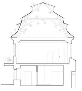 Řez budovou Nových mlýnů