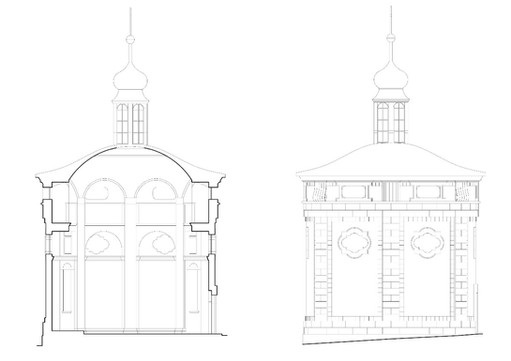 Řez a fasáda kaple sv.Máří Magdaleny