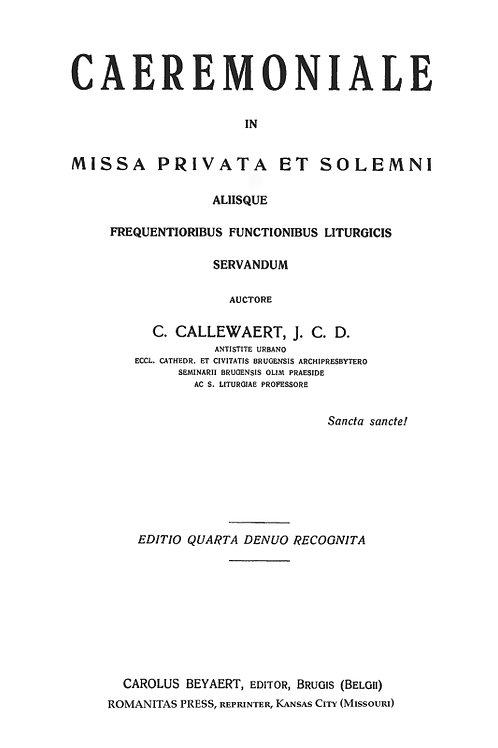 Caeremoniale in Missa, Privata et Solemni PDF BK