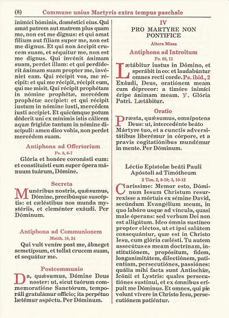 Commune Sanctorum page from Missale Romanum published by Benziger.
