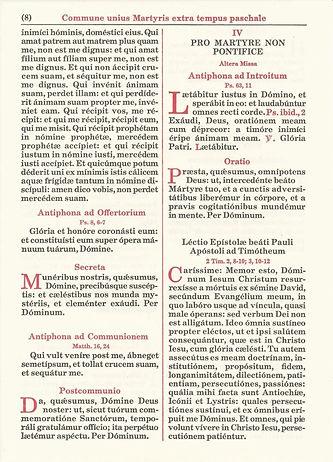 Commune Sanctorum page from Missale Romanum published by Benziger.