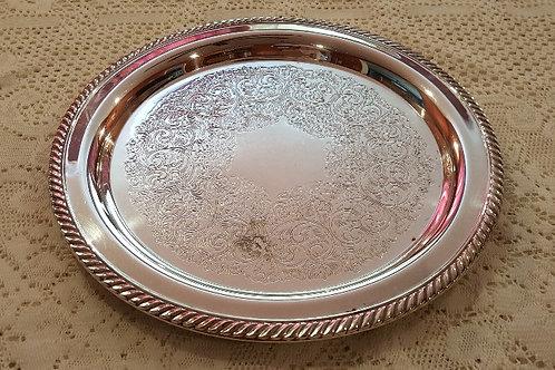 """12"""" Silver-Plated Circular Tray"""
