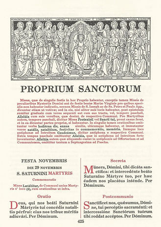 Proprium Sanctorum page from Missale Romanum published by Benziger.